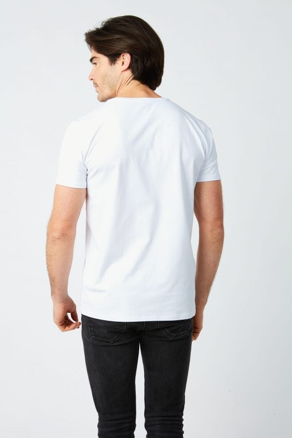T Shirt Homme Plume Brodee Blanc Crop Back