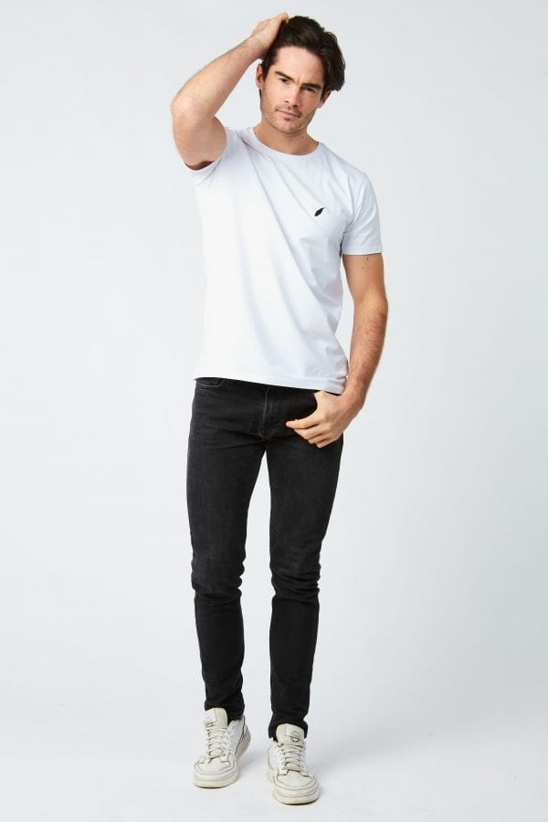 T Shirt Homme Plume Brodee Blanc Shop The Look