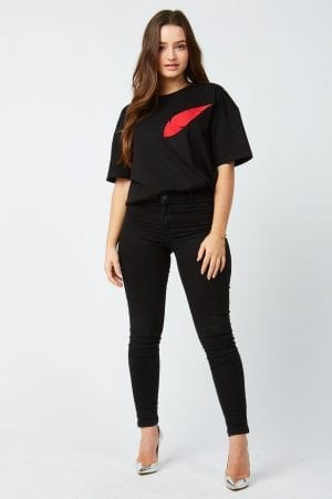 T Shirt Unisex Plume Rouge Brodee Shop The Look